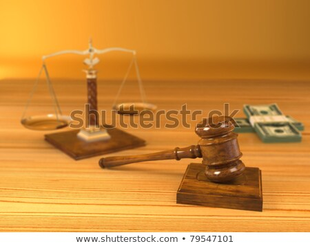 wooden gavel, money and scale on white background. Isolated 3D i Stock photo © ISerg