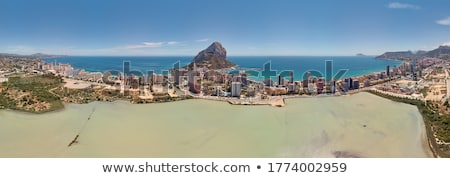 Aerial drone picturesque view from above Calp cityscape salt lak Stock photo © amok