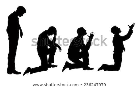 black silhouette of a praying Stock photo © mayboro