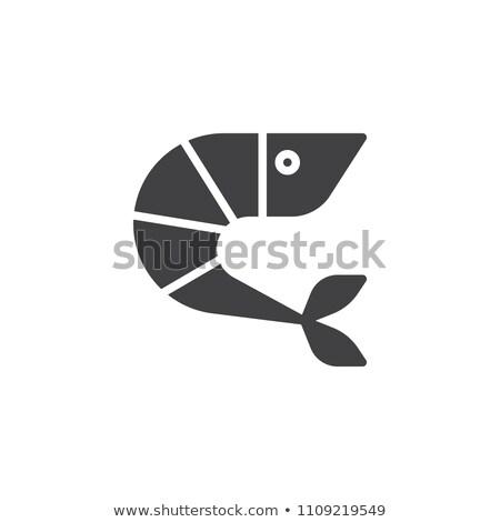 Garnalen icon vector geïsoleerd witte Stockfoto © smoki
