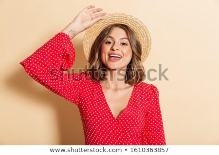 Foto hübsche Frau roten Kleid Strohhut lächelnd Kamera Stock foto © deandrobot