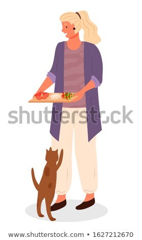 Woman with Cutting Board, Cat Beg Food from Owner Stock photo © robuart