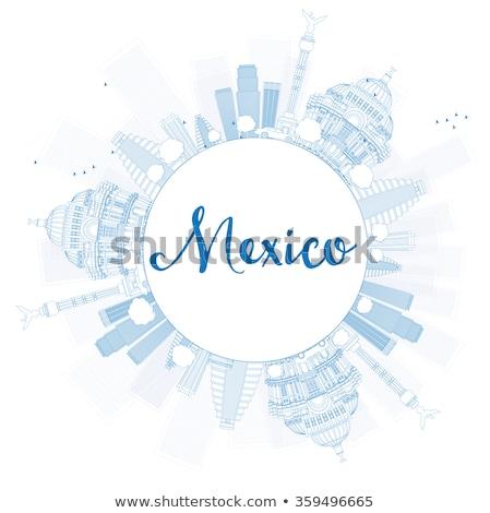 Meksyk panoramę niebieski kopia przestrzeń Zdjęcia stock © ShustrikS