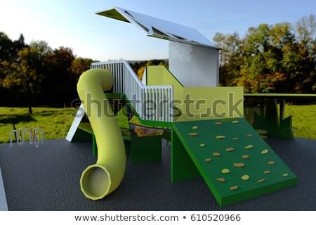 Groene kinderen slide 3D 3d render illustratie Stockfoto © djmilic