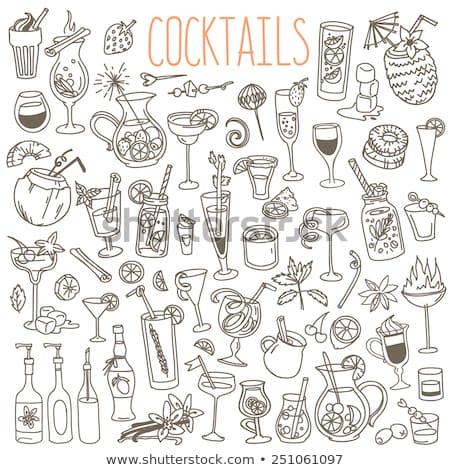 Set of outline various kinds of cocktails. Stock photo © ShustrikS
