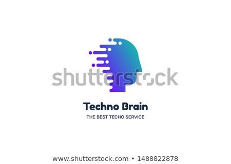 Humanismo cabeça lasca techno cérebro multimídia Foto stock © barsrsind
