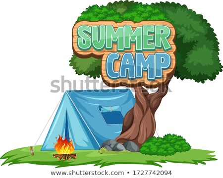 Font design for summer camp with blue tent in the park Stock photo © bluering