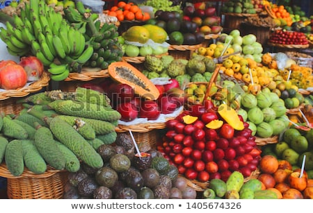 Exotic fresh fruits stall at the Funchal market on the island of Stock photo © boggy