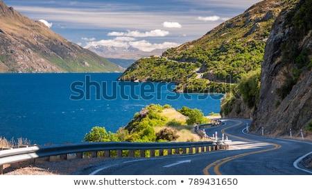 Route lac vue autoroute Nouvelle-Zélande paysage Photo stock © alexeys