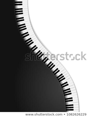 волнистый · фортепиано · клавиатура · черно · белые · иллюстрация · звезды - Сток-фото © dvarg