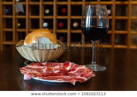 Serrano ham wijn brood achtergrond fles Stockfoto © M-studio