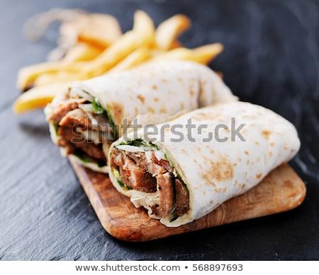 marinált · bárány · kebab · kenyér · étel · asztal - stock fotó © m-studio