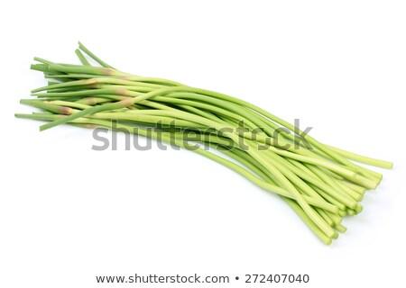 Fresh garlic scape on white background Stock photo © BSANI