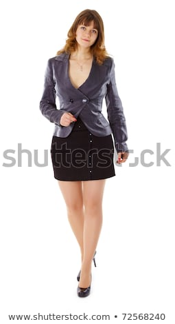 Girl In Business Suit Comes On A White Stock fotó © pzAxe