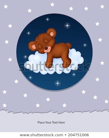 Bebek tebrik kartı uykulu oyuncak ayı sevmek arka plan Stok fotoğraf © balasoiu