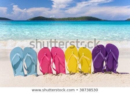 Różowy lata plaży buty żółty wzór Zdjęcia stock © RuslanOmega