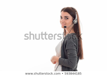 Closeup smiling portrait of a call centre executive Stock photo © stockyimages