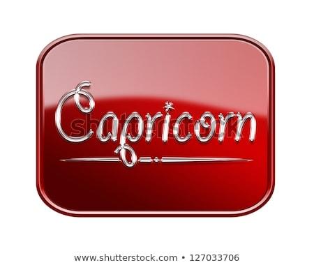 Capricorn zodiac icon red glossy, isolated on white background Stock photo © zeffss