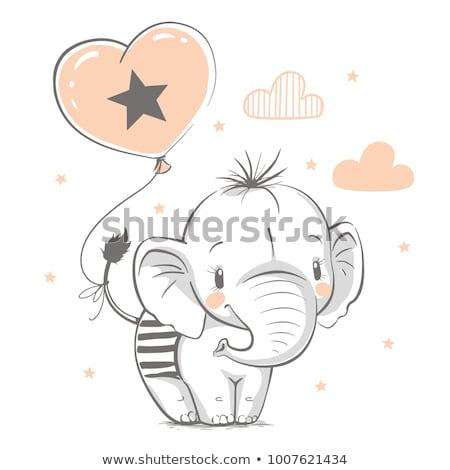 Baba zuhany kártya vicces állatok vektor Stock fotó © balasoiu