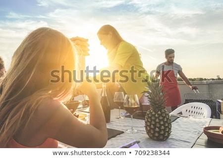 Nők belső udvar nevet bor kettő csinos Stock fotó © saje