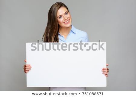 笑顔の女性 白 ブランクカード 画像 女性 ストックフォト © dolgachov