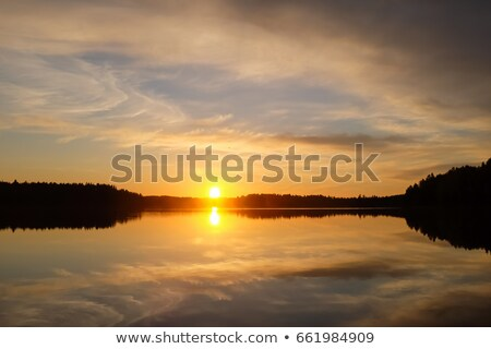 Medianoche sol lago panorama colorido verano Foto stock © Anterovium