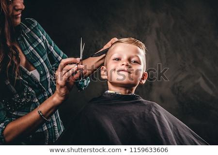 Foto stock: Jovem · meninos · cabeleireiro · sorrir · crianças · cara