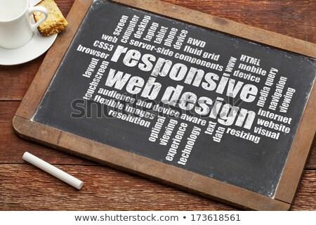 Ansprechbar Web-Design Tafel detaillierte Telefon Internet Stock foto © TLFurrer