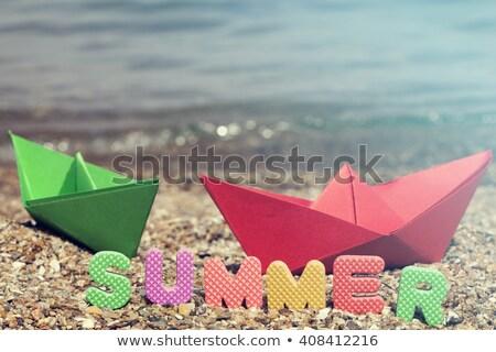 игрушку · паруса · лодка · деревянная · игрушка · пляж · воды - Сток-фото © sandralise