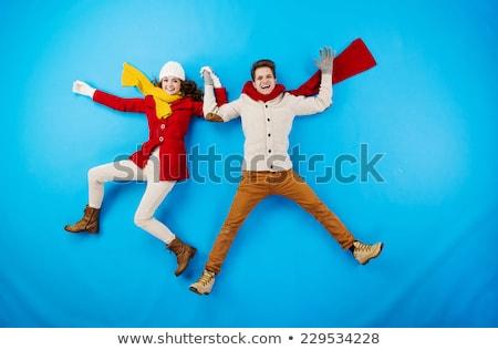Komik çift kış vektör format Stok fotoğraf © balasoiu