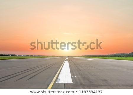 закат Размышления ВПП солнце путешествия аэропорту Сток-фото © meinzahn