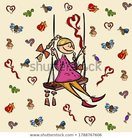 voar · inseto · esboço · sem · costura · símbolo · ilustração - foto stock © kali