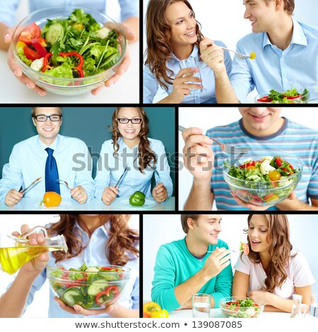 love collage of fresh healthy food stock photo © compuinfoto