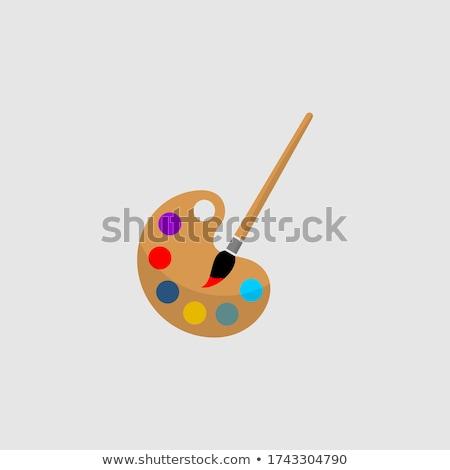 Schilderij palet geïsoleerd witte kunst onderwijs Stockfoto © wime