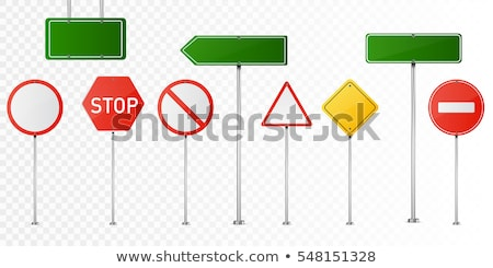 Trafik işareti uyarı beyaz çim yol doğa Stok fotoğraf © RAStudio