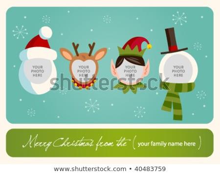 Karácsonyi üdvözlet mikulás rénszarvas tündér három karácsony Stock fotó © smartin69