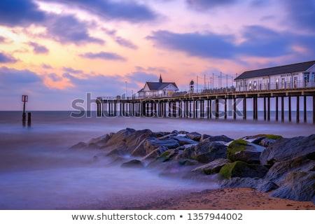 Móló tájkép kávézó hullám hullámok turizmus Stock fotó © chris2766