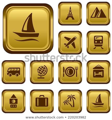 Stock photo: Globe Sign golden Vector Icon Design