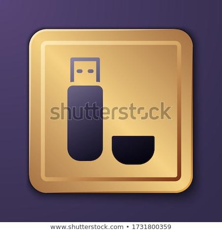 Usb segno viola vettore pulsante icona Foto d'archivio © rizwanali3d