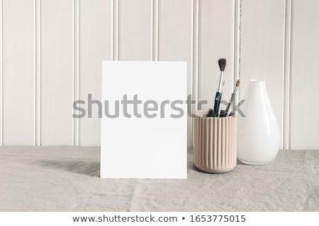 Lege kaart borstel houten tafel papier kaart witte Stockfoto © cherezoff