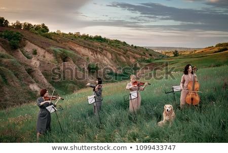 Trois s'asseoir jouer herbe ciel femme Photo stock © Paha_L