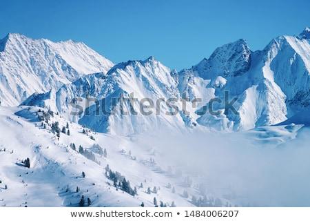 Trekking hegy tél illusztráció sport naplemente Stock fotó © adrenalina