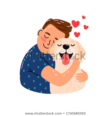 young man with dog isolated on white stock photo © elnur