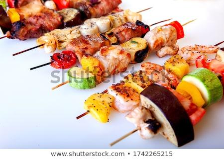 disznóhús · zöldség · nyárs · stúdiófelvétel · étel · hús - stock fotó © digifoodstock