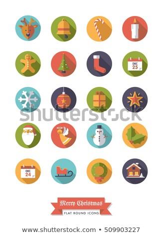 Рождества · иконки · долго · Тени · иллюстрация · бесшовный - Сток-фото © redkoala