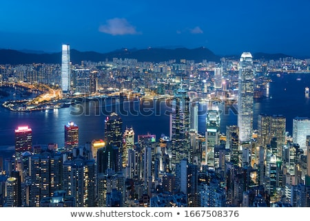 Hong Kong at night with highrise buildings