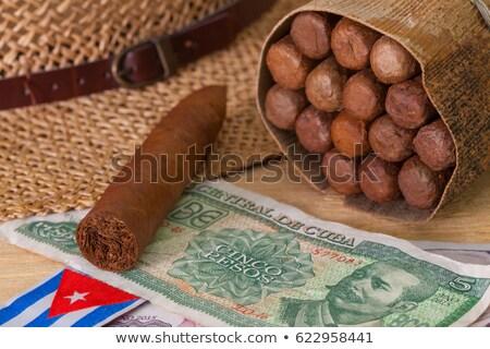 Szivarok szalmakalap kubai bankjegyek fa asztal fém Stock fotó © CaptureLight