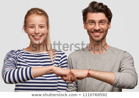 two female friends on white background stock photo © zdenkam