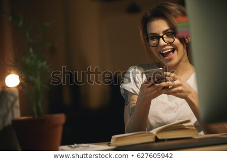 улыбаясь · молодые · Lady · сидят - Сток-фото © deandrobot