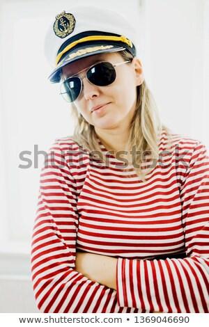 uçuş · şapka · kız · adam · çocuk · seyahat - stok fotoğraf © is2